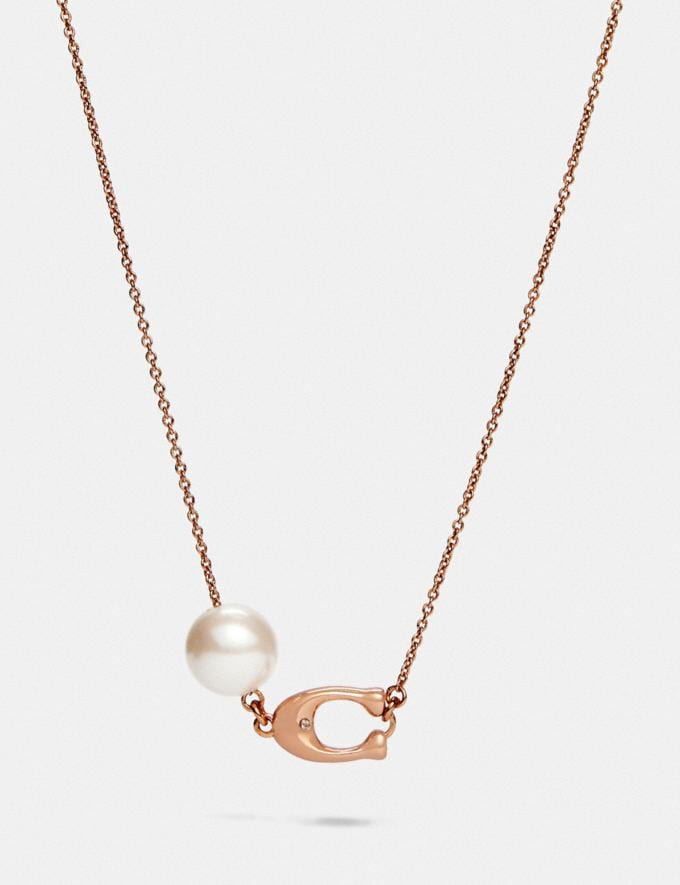Coach Sculpted Signature Pearl Necklace Rose Gold New Women's New Arrivals