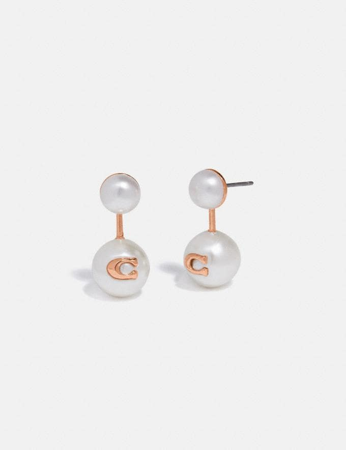 Coach Sculpted Signature Pearl Drop Stud Earrings Rose Gold Women Accessories Jewellery Earrings