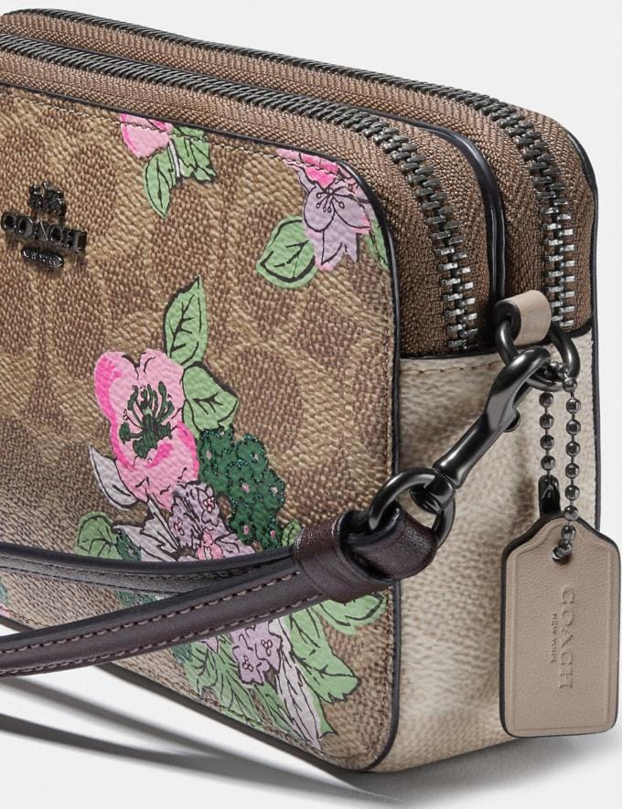 Coach Kira Crossbody in Signature Canvas With Blossom Print Pewter/Tan Sand Print Gifts For Her Alternate View 3