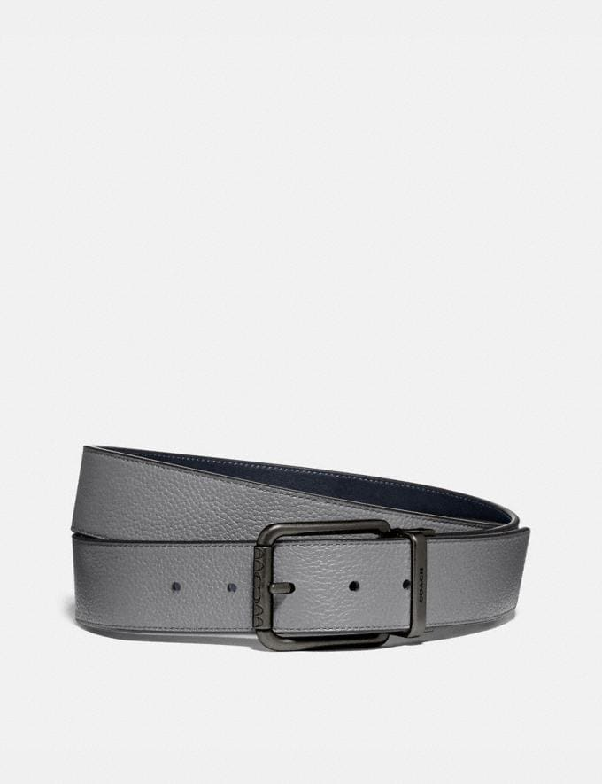 Coach Roller Buckle Cut-To-Size Reversible Belt, 38mm Washed Steel/Midnight Men Accessories Belts