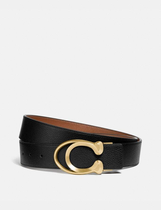 Coach Signature Buckle Belt, 38mm Black/Saddle Men Accessories Belts
