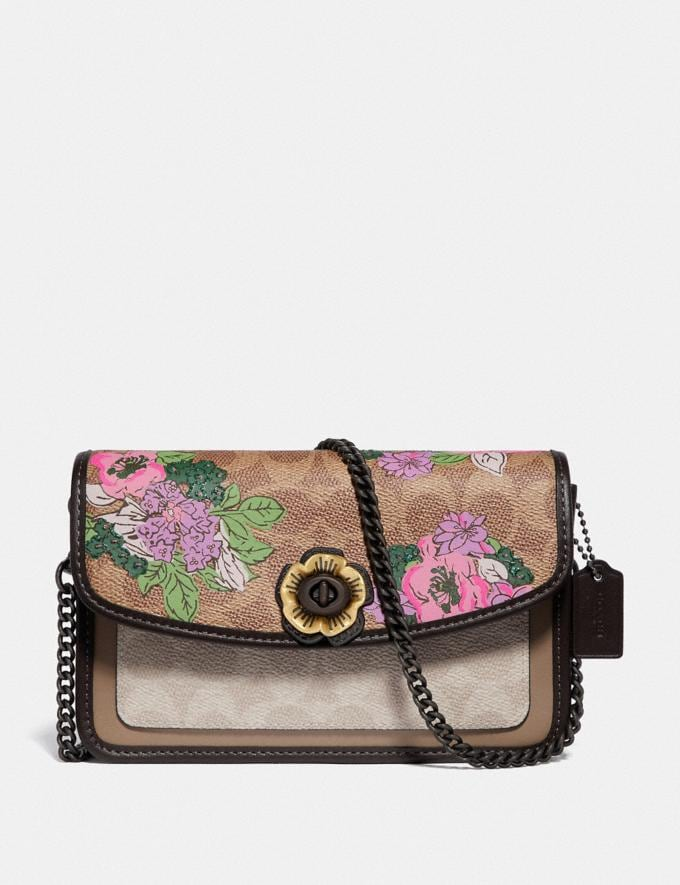 Coach Parker Crossbody in Signature Canvas With Blossom Print V5/Tan Sand Print Women Bags Crossbody Bags