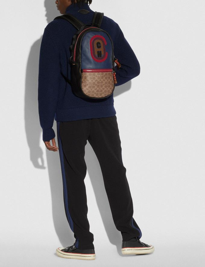 Coach Pacer Backpack in Colorblock Signature Canvas With Coach Patch Ji/Khaki/True Navy Men Bags Backpacks Alternate View 3