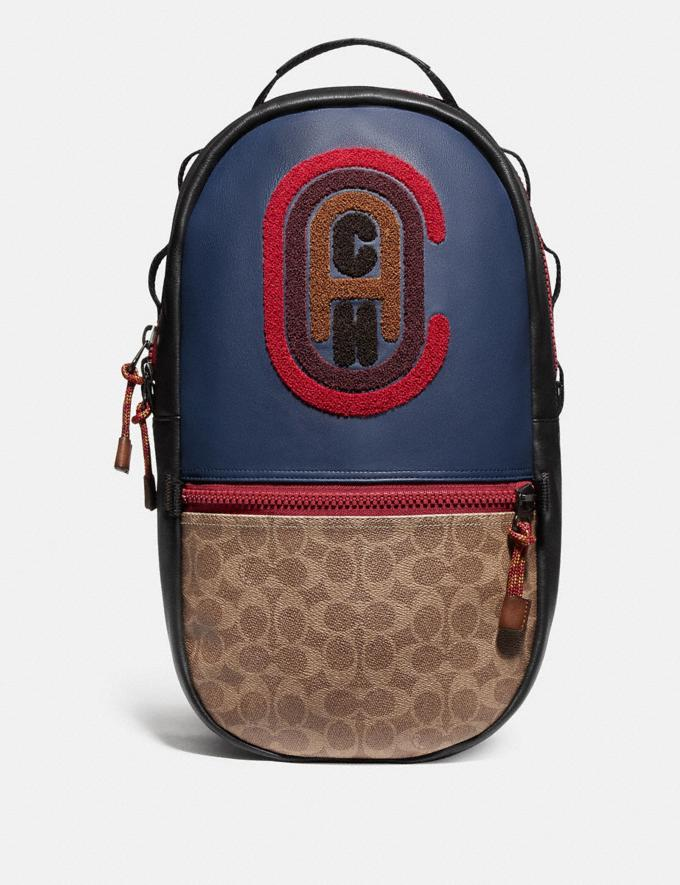 Coach Pacer Backpack in Colorblock Signature Canvas With Coach Patch Ji/Khaki/True Navy New Men's New Arrivals