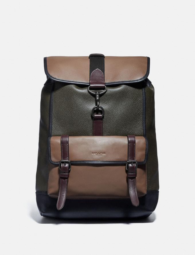 Coach Bleecker Backpack in Colorblock Black Copper/Army Green Multi Men Bags Backpacks