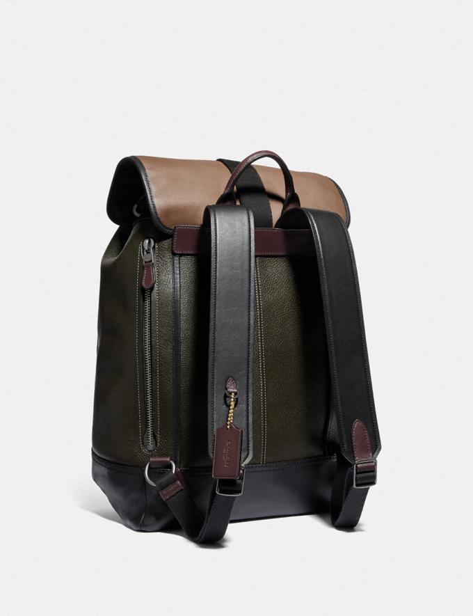 Coach Bleecker Backpack in Colorblock Black Copper/Army Green Multi SALE Men's Sale Alternate View 1