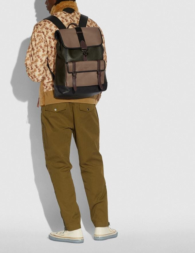 Coach Bleecker Backpack in Colorblock Black Copper/Army Green Multi Men Bags Backpacks Alternate View 3