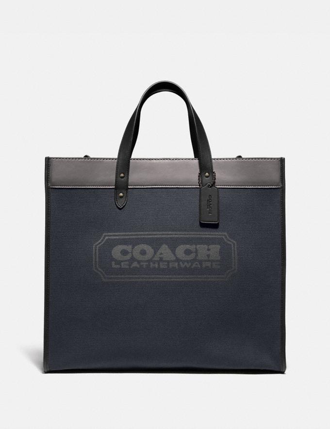 Coach Field Tote 40 in Colorblock Black Copper/Midnight Navy Women Handbags Diaper Bags