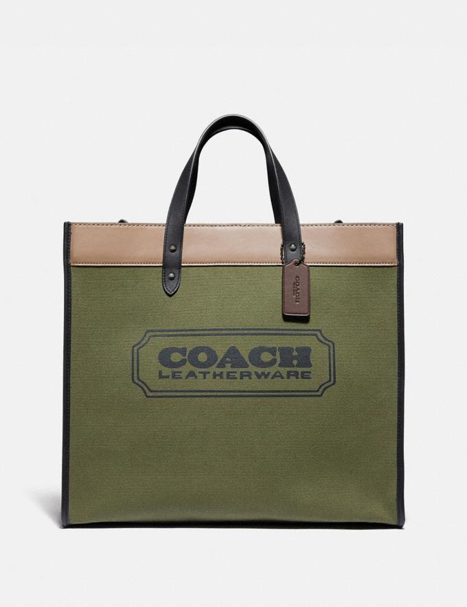 Coach Field Tote 40 in Colorblock Black Copper/Army Green Multi Men Bags Totes & Duffles