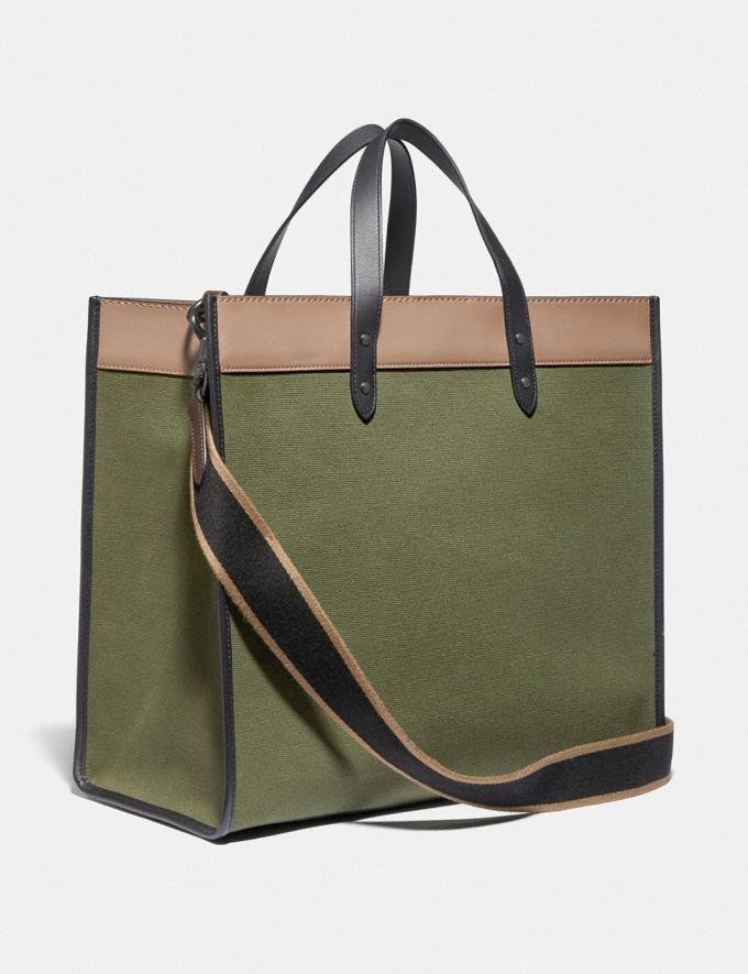 Coach Field Tote 40 in Colorblock Black Copper/Army Green Multi Men Bags Totes & Duffles Alternate View 1