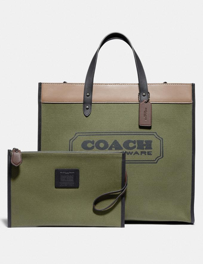 Coach Field Tote 40 in Colorblock Black Copper/Army Green Multi Men Bags Totes & Duffles Alternate View 4
