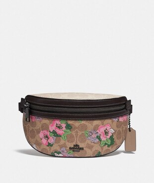 BETHANY BELT BAG IN SIGNATURE CANVAS WITH BLOSSOM PRINT