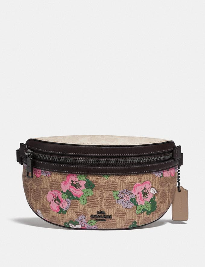 Coach Bethany Belt Bag in Signature Canvas With Blossom Print Pewter/Tan Sand Print Women Bags Belt Bags