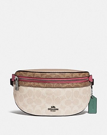 bethany belt bag in blocked signature canvas