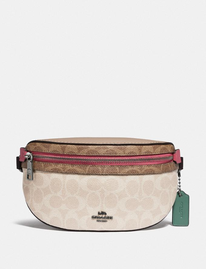 Coach Bethany Belt Bag in Blocked Signature Canvas Lh/Tan Sand Orchid Women Bags Belt Bags