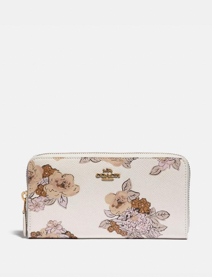 Coach Accordion Zip Wallet With Floral Bouquet Print Brass/Chalk New Women's New Arrivals Wallets & Wristlets