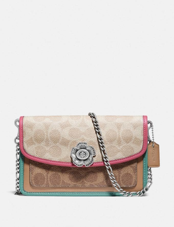Coach Parker Crossbody in Blocked Signature Canvas Lh/Tan Sand Orchid New Featured Signature Styles
