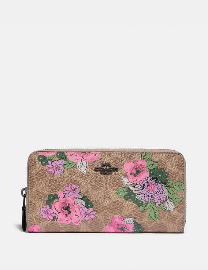 Coach Accordion Zip Wallet in Signature Canvas With Blossom Print Pewter/Tan Print Women Small Leather Goods Large Wallets