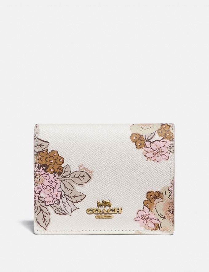 Coach Small Snap Wallet With Floral Bouquet Print Brass/Chalk Gifts For Her Under $300
