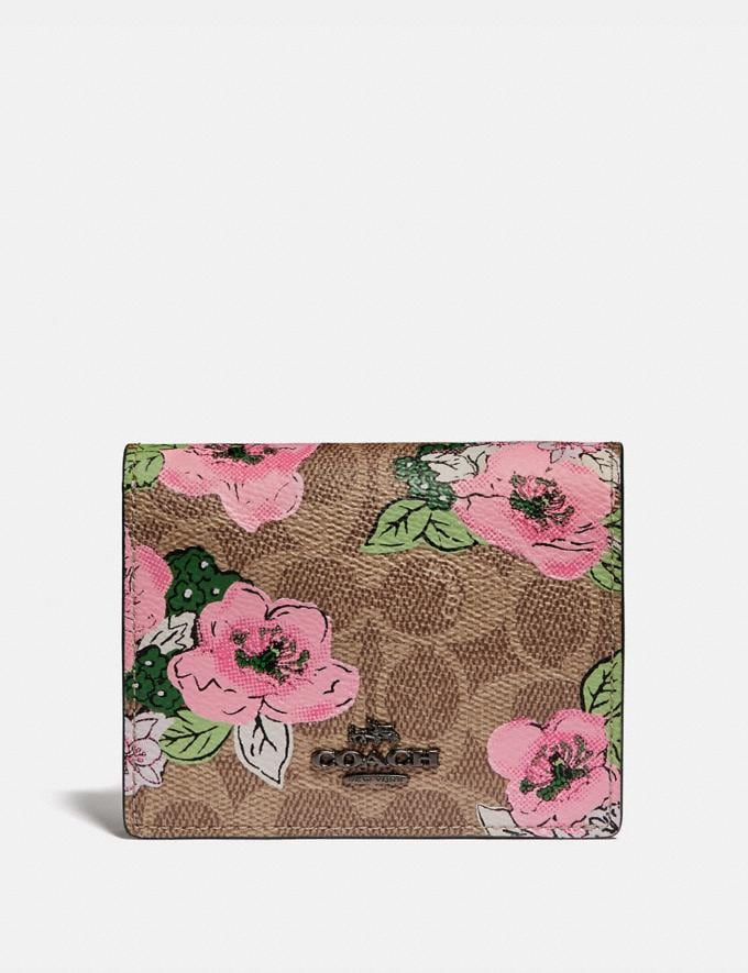 Coach Small Snap Wallet in Signature Canvas With Blossom Print Pewter/Tan Print Gifts For Her Under $300