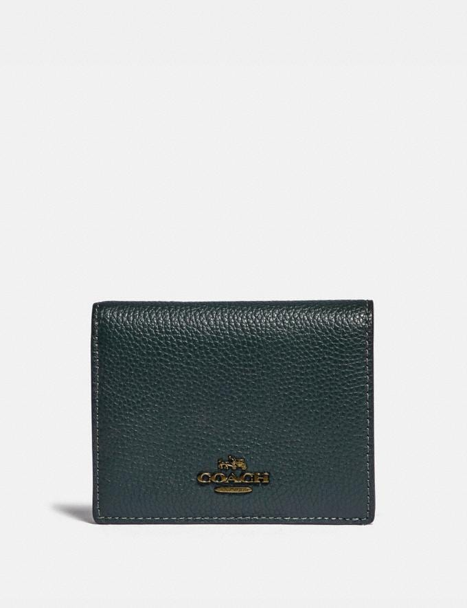 Coach Small Snap Wallet With Colorblock Interior Brass/Pine Green Multi Women Wallets & Wristlets Small Wallets