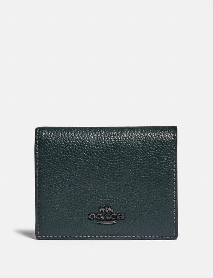 Coach Small Snap Wallet With Colorblock Interior Pewter/Pine Green Multi Women Small Leather Goods Small Wallets