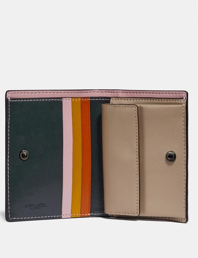 Coach Small Snap Wallet With Colorblock Interior Pewter/Pine Green Multi Women Small Leather Goods Small Wallets Alternate View 1