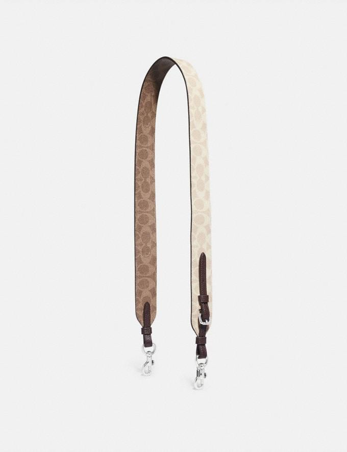 Coach Strap in Blocked Signature Canvas Light Nickel/Sand Taupe Gifts For Her Under $100