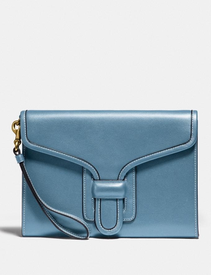 Coach Courier Wristlet Brass/Pacific Blue New Women's New Arrivals Collection