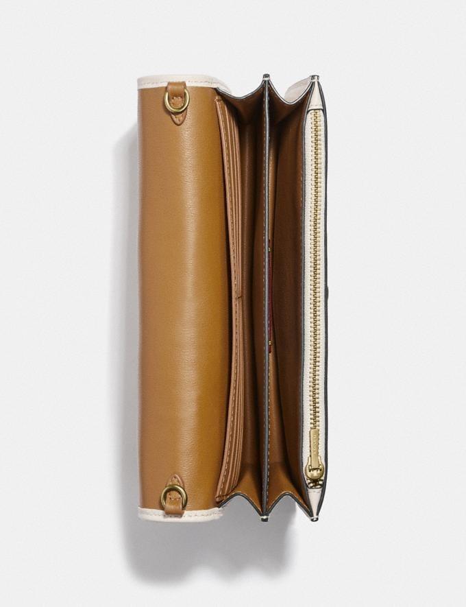 Coach Callie Foldover Chain Clutch With Varsity Stripe Brass/Chalk Multi Women Small Leather Goods Crossbody Wallets Alternate View 2