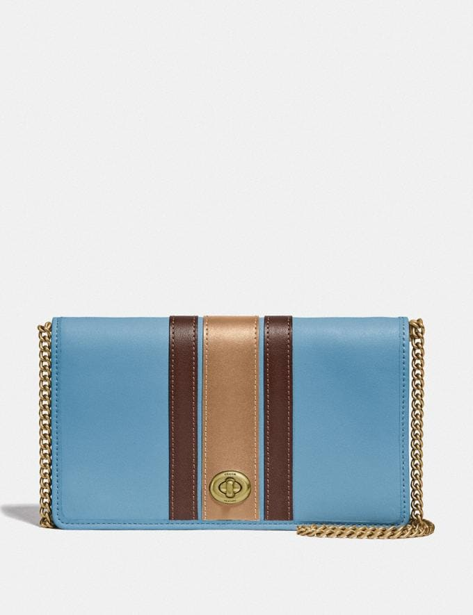Coach Callie Foldover Chain Clutch With Varsity Stripe Brass/Chalk Multi Women Small Leather Goods Crossbody Wallets