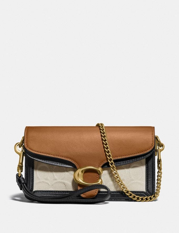 Coach Tabby Crossbody in Blocked Signature Canvas B4/Canvas Light Saddle New Featured Signature Styles