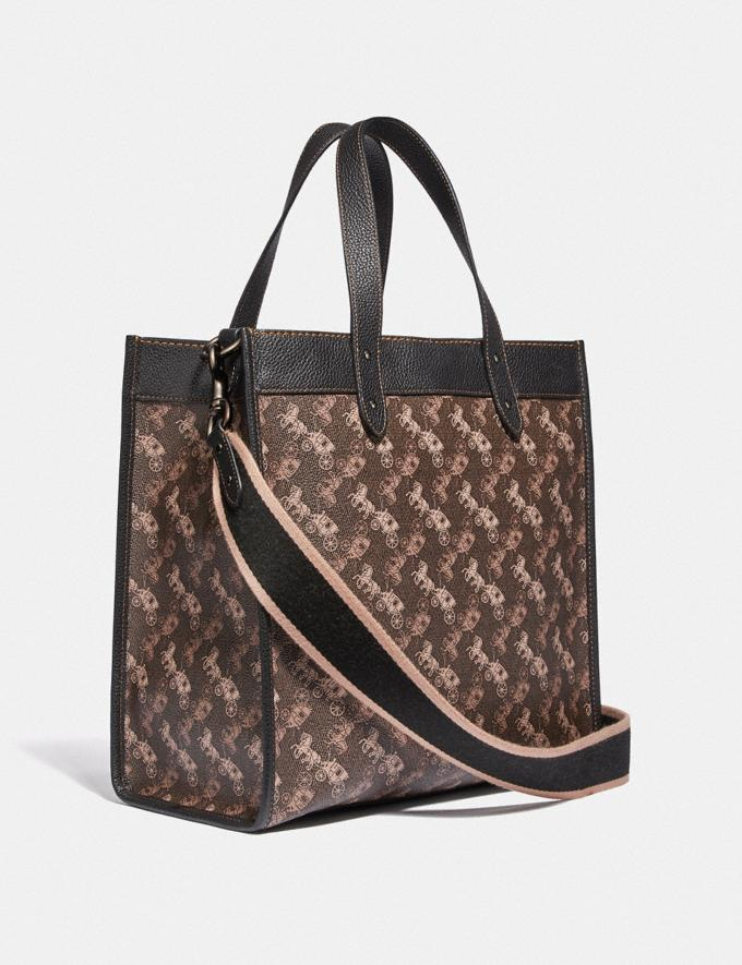 Coach Field Tote With Horse and Carriage Print Pewter/Brown Black New Women's New Arrivals Collection Alternate View 1