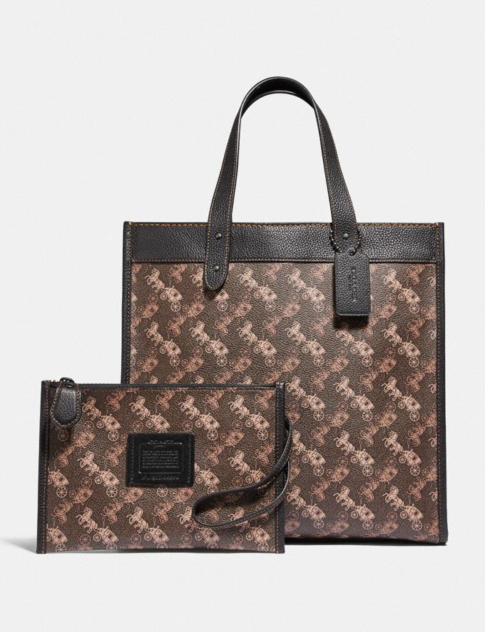Coach Field Tote With Horse and Carriage Print Pewter/Brown Black New Women's New Arrivals Collection Alternate View 4