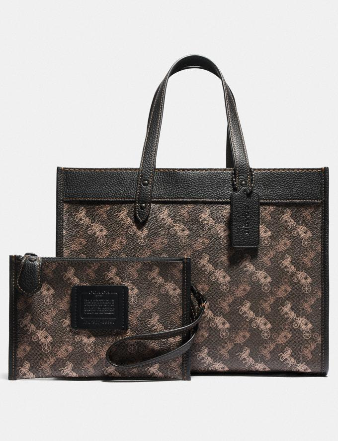 Coach Field Tote 30 With Horse and Carriage Print V5/Brown Black New Women's New Arrivals Alternate View 4