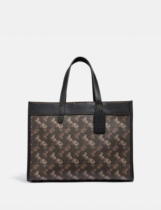 Coach Field Tote 30 With Horse and Carriage Print V5/Brown Black New Women's New Arrivals