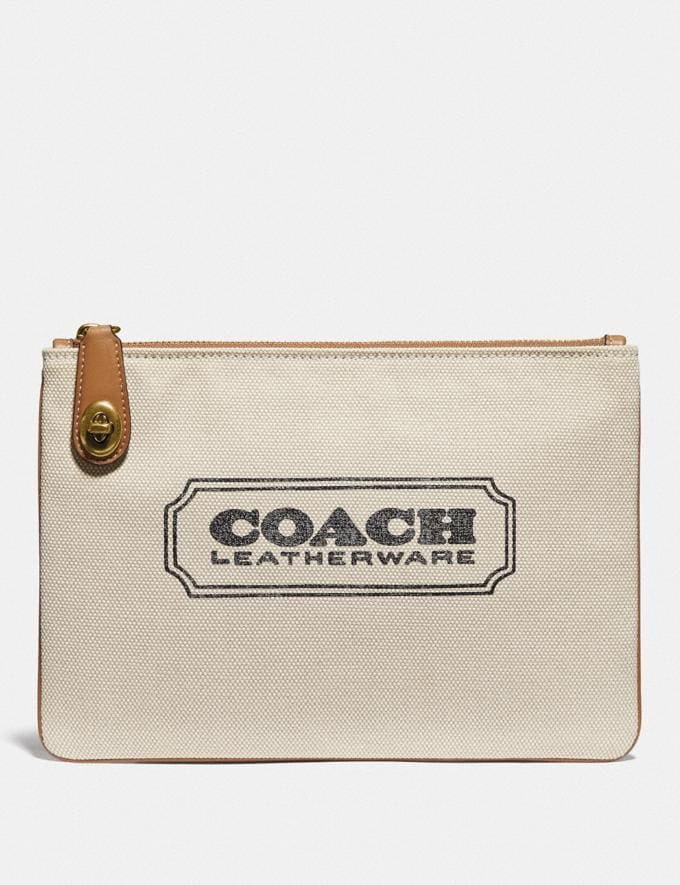 Coach Turnlock Pouch 26 With Coach Badge Brass/Canvas Light Saddle New Women's New Arrivals