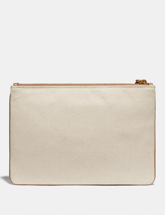 Coach Turnlock Pouch 26 With Coach Badge Brass/Canvas Light Saddle New Women's New Arrivals Alternate View 1