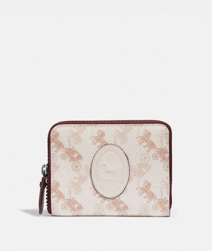 SMALL ZIP AROUND WALLET WITH HORSE AND CARRIAGE PRINT AND ARCHIVE PATCH