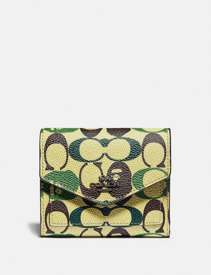Coach Bape X Coach Small Wallet in Signature Canvas With Ape Head Black Copper/Camo Multi