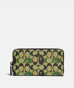 BAPE X COACH ACCORDION ZIP WALLET IN SIGNATURE CANVAS WITH APE HEAD