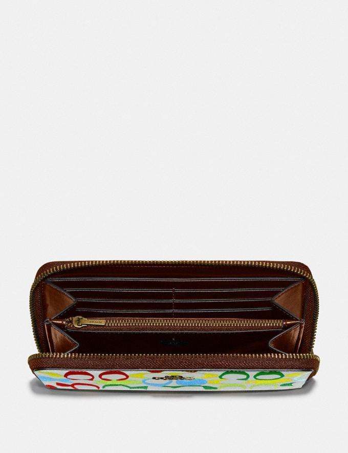 Coach Bape X Coach Accordion Zip Wallet in Signature Canvas With Ape Head Brass/Multi  Alternate View 1
