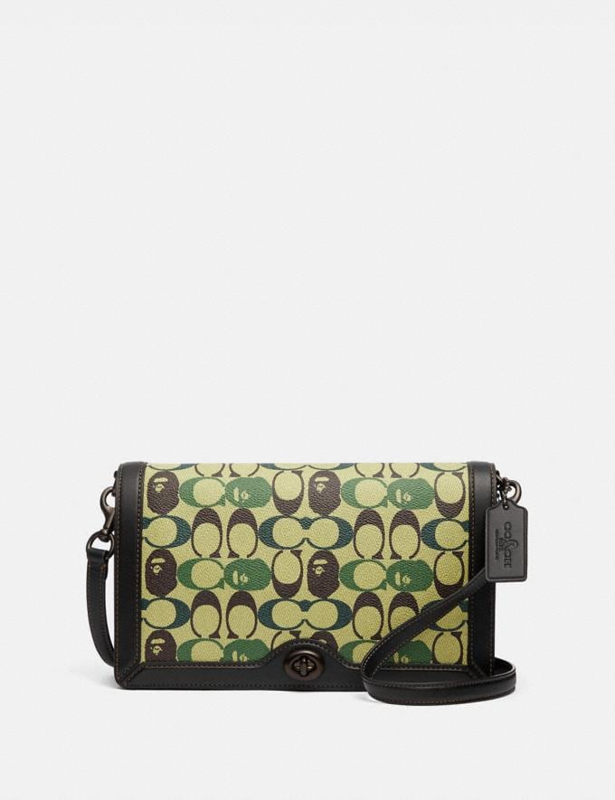 Coach Bape X Coach Riley Crossbody in Signature Canvas With Ape Head Black Copper/Camo Multi
