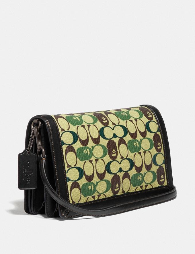 Coach Bape X Coach Riley Crossbody in Signature Canvas With Ape Head Black Copper/Camo Multi  Alternate View 1