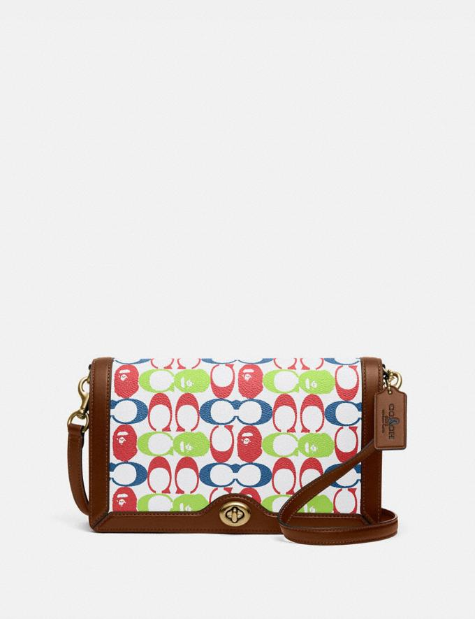 Coach Bape X Coach Riley Crossbody in Signature Canvas With Ape Head Brass/Multi