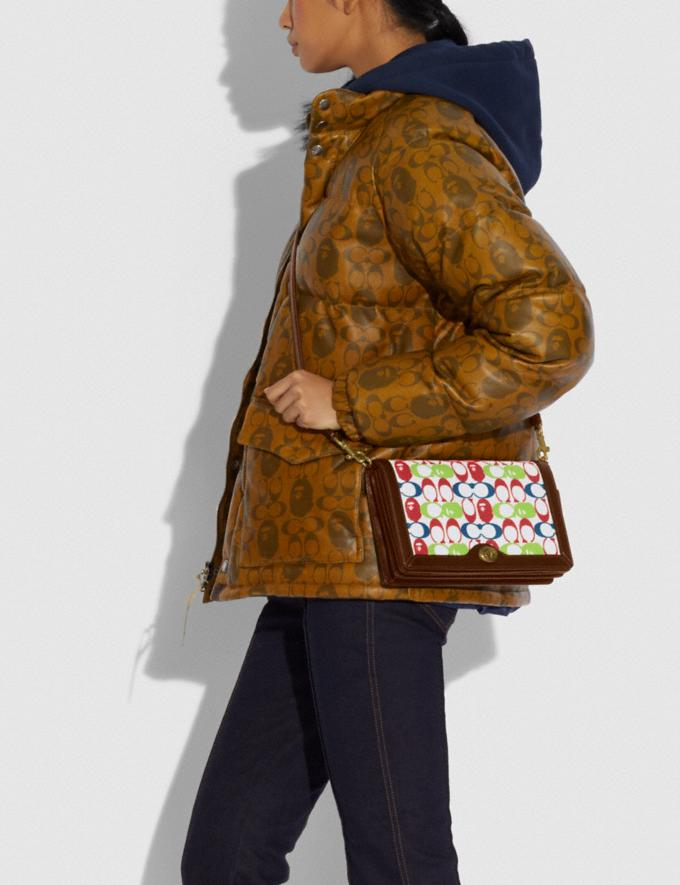 Coach Bape X Coach Riley Crossbody in Signature Canvas With Ape Head Brass/Multi  Alternate View 3