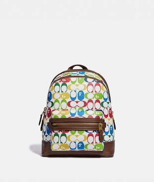 BAPE X COACH ACADEMY BACKPACK 23 IN SIGNATURE CANVAS WITH APE HEAD