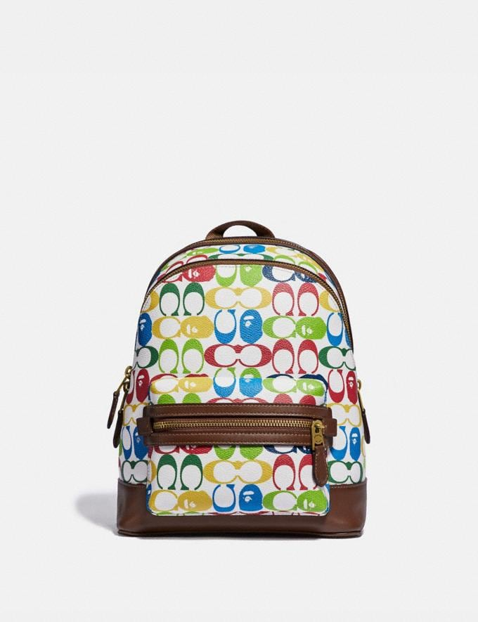Coach Bape X Coach Academy Backpack 23 in Signature Canvas With Ape Head Brass/Multi