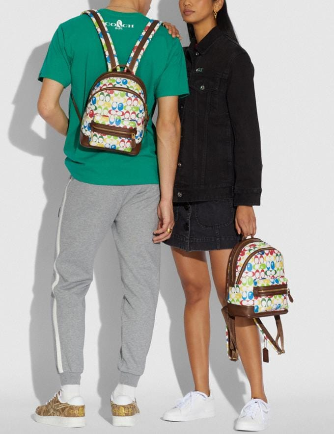 Coach Bape X Coach Academy Backpack 23 in Signature Canvas With Ape Head Brass/Multi  Alternate View 3