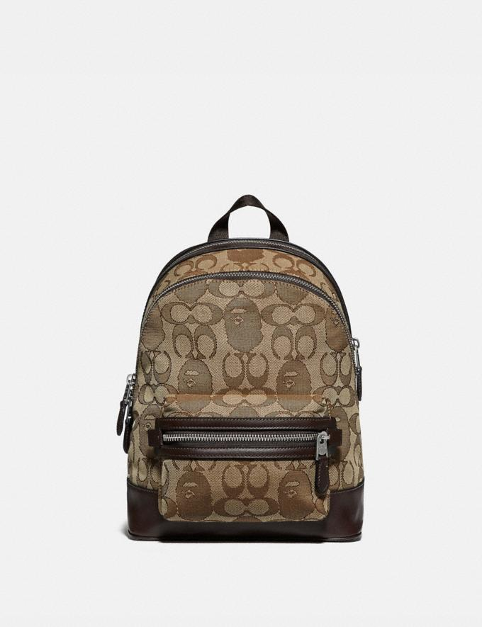 Coach Bape X Coach Academy Backpack 23 in Signature Jacquard With Ape Head Light Antique Nickel/Khaki